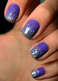 Glittery tip nails