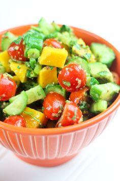 healthi foodi, coconuts, avocado, pork, cucumber salad