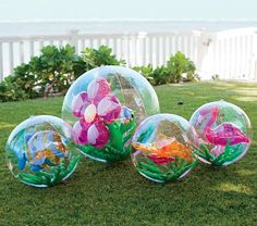 Pink Inflatable Beach Balls - inside a seahorse, butterfly or flower appears when inflated!!! Ready for summer!!