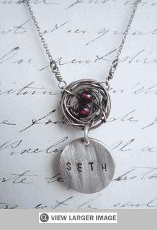 Birds nest personalized pendant
