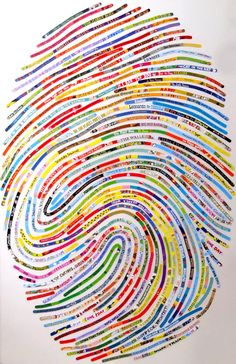 Custom Children's Bookworm Thumbprint Portrait for by cherylsorg made out of reclaimed book jackets and covers