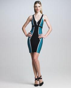 Colorblock Bandage Dress by Herve Leger at Bergdorf Goodman.