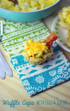 Waffle Cups with Eggs  Bacon