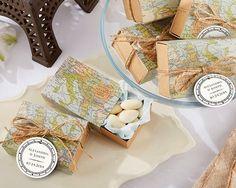 travel themed destination wedding favor boxes  #wedding #favors #ideas #travel #destination #map #globe #boxes
