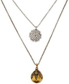 Lucky Brand Two-Tone Bee and Honeycomb Two-Row Pendant Necklace