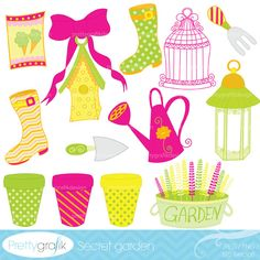 Secret garden clipart is a delightful set that can be used for scrapbooking your family garden, landscaping dream boards, garden planner, journal and more