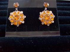 Vintage Gold Rhinestones Earrings Screw Type by vintagecitypast, $12.00