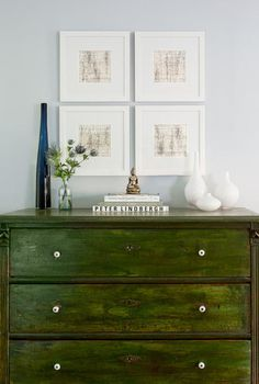 Beautiful dresser color is a nice contrast with the white.