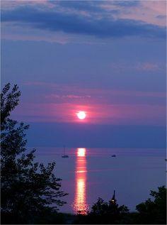 Pink sunset at Lake Huron