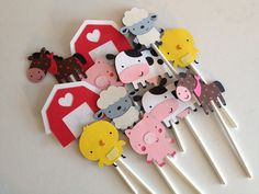 Set Of 12 Barn Yard Animal Cupcake Toppers cow sheep by MiaSophias, $10.00