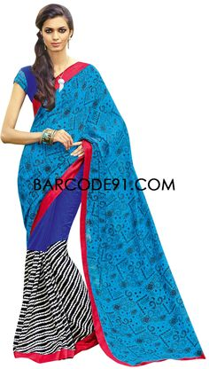 Buy it now  http://www.barcode91.com/a-saree-done-half-in-bhagalpuri-silk-and-half-in-crape-by-barcode-91-exclusive-6664.html  A saree done half in bhagalpuri silk and half in crape by Barcode 91 Exclusive
