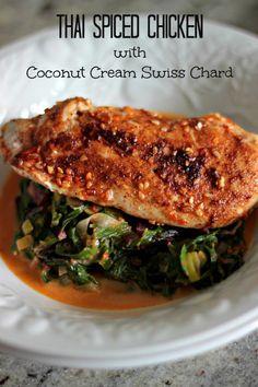Thai Spiced Chicken with Coconut Cream Swiss Chard
