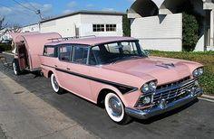 1958 Nash Rambler Cross Country with pink teardrop trailer