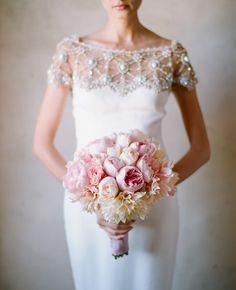 Marchesa dress and beautiful bouquet. Elizabeth messina