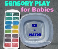 Colored ice and water is such a  simple and fun way to stay cool this Summer.  Also a great sensory activity for babies and toddlers. summer play, baby activities, ice cubes, sensory activities, baby play, water fun, food coloring, sensory play, play ideas