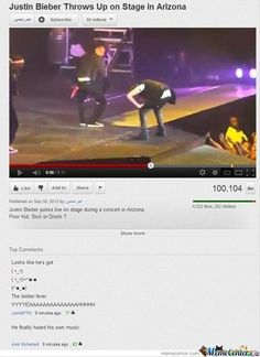 Justin Bieber throws up on stage, but the top comment is the greatest thing ever. The person that left that comment is a genius. //YYYYEAAAHHHH!!!! Both of those comments are perfect!!!!! :DDDD