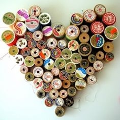 wall art, thread spools, idea, heart, the craft