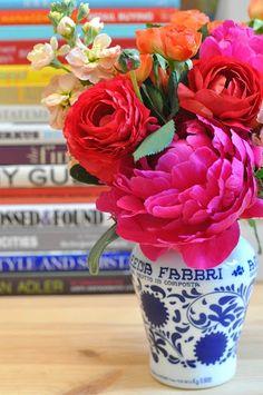 rose, bouquet, spray, blue, peach, oranges, fresh flowers, bright colors, pink peonies