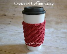 CROCHET PATTERN - Crooked Coffee Cozy. Kindly shared by crazysockscrochet.com!  ☀CQ #crochet. Thanks for sharing! ¯\_(ツ)_/¯