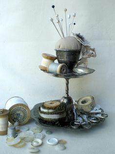 sewing station, idea, pincushion crazi, hand sewing, button, inspir, sewing storage, silver sew, pin cushion