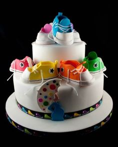 Baby Shower #Cake #Converse Cute Cake! We love and had to share! #CakeDecorating Ideas and Inspiration