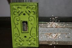 maybe for my bedroom? vintage light switch cover painted green on Etsy