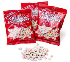 ThinkGeek :: Crunch Mallows Cereal Marshmallows Three Pack//just the marshmallows from Lucky Charms...it's sad, but I've always wanted something like this.
