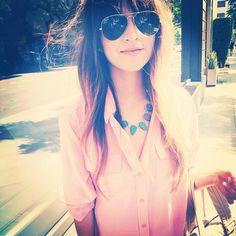 statement necklaces, aviators, gem stones, sunglass, blous, pale pink, bangs, apricots, shirt