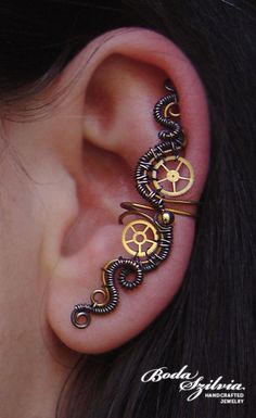Copper and brass wire wrapped steampunk ear cuff