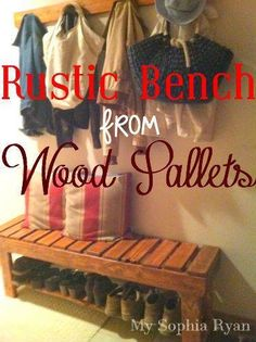 Rustic Bench from Wood Pallets DIY shoes storage country  Like our Facebook page! https://www.facebook.com/pages/Rustic-Farmhouse-Decor/636679889706127