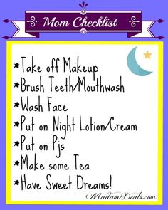 Moms Evening checklist #inspireothers