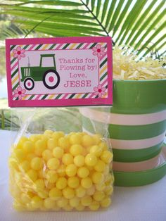John Deere Girl Pink Goodie Bag Topper with by ThePolkaDotPrince, $15.00