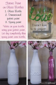 craft, puffy paint, painted bottles, valentine ideas, wine bottles, diy, puff paint, painted jars, glitter jars