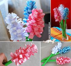 spring flowers, paper hyacinth, vans, kids flower crafts, papers, hyacinth paper, mothers day school crafts, mothers day paper crafts, mothers day paper flowers
