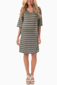 OLIVE GREEN GREY STRIPED 3/4 SLEEVE MATERNITY DRESS $37