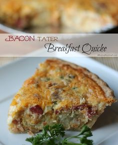The secret ingredient inside this Bacon 'Tater Breakfast Quiche is Tater Tots!!! #brunch #breakfast #quiche #bacon