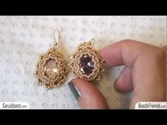 Cubic zirconia earrings: beaded bezel earrings with cubic zirconia and seed beads | Beaded Jewelry    http://www.sararmoniasara.com .____. http://www.beadsfriends.com  Facebook ------°°°° http://www.facebook.com/BeadsFriends  To contact me, send an email to sara@beadsfriends.com