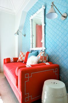 decor, interior, couch, red, color combos, colors, daybeds, design, blues