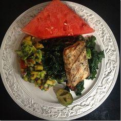 Whole30 dinner idea - grilled swordfish with peach avocado salsa