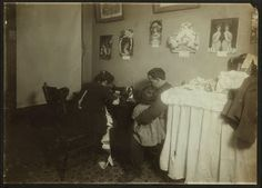Making doll clothes (Campbell Kids) in New York, 1912