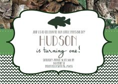 DEER FISH DUCK Pink or Green Boy Girl Modern Camo by MolsDesigns FISHING INVITATION BOYS FIRST BIRTHDAY SECOND BIRTHDAY 3RD BIRTHDAY FISHING BABY SHOWER GRADUATION PARTY INVITE