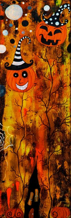 Pumpkin Land Mixed Media Painting