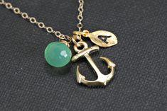 Gold Anchor Necklace,Gemstone Personalized Anchor Necklace Monogram, Nautical Theme Gift, Wedding Jewelry, Bridesmaid Jewelry. $36.00, via Etsy.