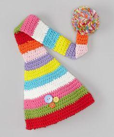 Red & Green Knit Elf Pom-Pom Beanie   #crochet #inspiration