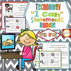 """BUNDLE of """"I Can"""" statements for technology standards. This is the First Grade bundle and you will save 10% by buying both products together. $"""