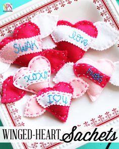 valentine crafts, wingedheart sachet, felt hearts, felt wingedheart, valentine day, craft idea, handstitch felt, teaching kids, hand warmers