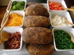 Build Your Own Potato for dinner! We use bacon bits, green onion, sautéed mushrooms, broccoli, ham bits, shredded cheddar, sour cream, butter, S! Scoop out 1 potato into a mixing bowl and customize the potato to everyone's liking. Super cheap meal!!! You can get 4 large potatoes for $1.50 and bacon bits by the lb. off the salad bar! Be creative, blue cheese would be good too :-)