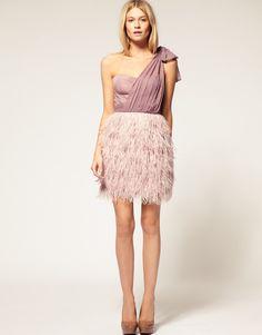 ASOS PETITE Exclusive One Shoulder Corset Dress With Feather Skirt   $151.30 Asoscomcom Pluma, Aso Vestido, Feather Skirt, Style, Asoscom Pluma, Dresses, Bridesmaid, Mine, Feathers
