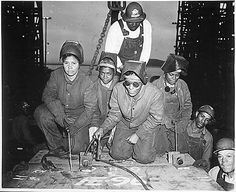 """... Welders Alivia Scott, Hattie Carpenter, and Flossie Burtos await an opportunity to weld their first piece of steel on the ship [SS George Washington Carver]."", ca. 1943, National Archives Identifier 535800"