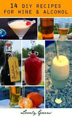 Learn how to make your own liqueurs and homemade wines with these 14 recipes from Lovely Greens ~ it's so much fun and way less expensive to make yourself!  #wine #liqueur #cocktails #recipe #baileys #kahlua #shrub